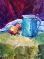 Still life with blue flagon and red apples